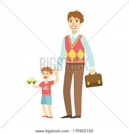 Father Holding Small Boy By The Hand, Illustration From Happy Loving Families Series. Smiling Cartoon Characters Together With Their Family Members Vector Drawing.