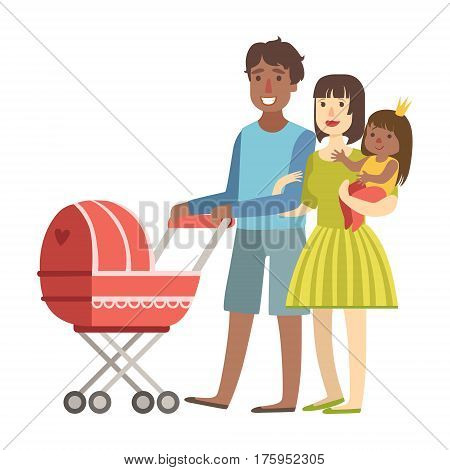 Parents Walking WIth Baby In A Stroller And And Toddler In Arms, Illustration From Happy Loving Families Series. Smiling Cartoon Characters Together With Their Family Members Vector Drawing.