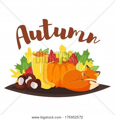Vector cartoon style autumn background with fox, pumpkin and yellow boots. Icon for web. Isolated on white background.