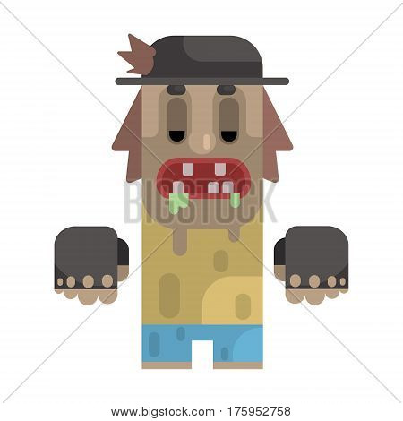 Drooling Tramp In Stained T-shirt And Hat, Revolting Homeless Person, Dreg Of Society, Pixelated Simplified Male Vagabond Character. Scary And Disgusting Outcast Addict Isolated Vector Flat Icon.
