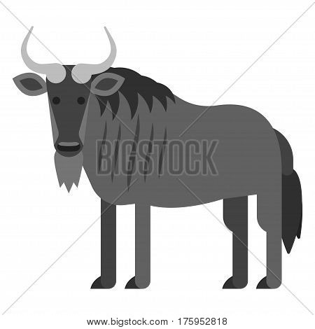 Vector flat style illustration of black wildebeest . Icon for web. Isolated on white background.