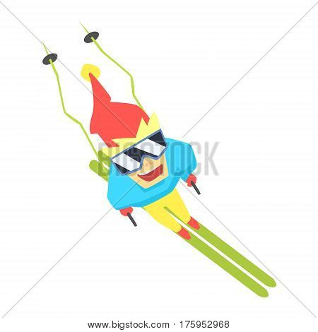 Guy Mountain Skiing From Above, Part Of Teenagers Practicing Extreme Sports For Recreation Set Of Cartoon Characters. Stylized Geometric Illustration With Young Man Doing Extremal Sport For Hobby.