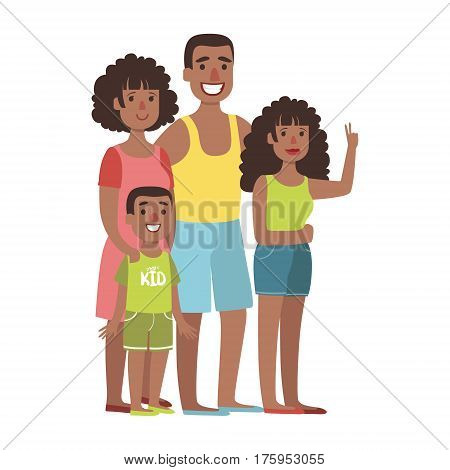 Father, Mother, Teenage Daughter And Young Son, Illustration From Happy Loving Families Series. Smiling Cartoon Characters Together With Their Family Members Vector Drawing.