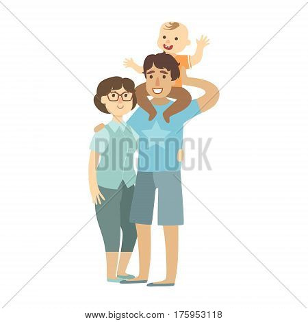Young Parents And Toddler Son Sitting On Fathers Shoulders, Illustration From Happy Loving Families Series. Smiling Cartoon Characters Together With Their Family Members Vector Drawing.