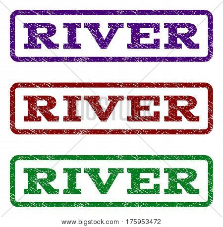 River watermark stamp. Text caption inside rounded rectangle with grunge design style. Vector variants are indigo blue, red, green ink colors. Rubber seal stamp with dirty texture.