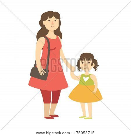 Mother And Small Daughter Holding Hands, Illustration From Happy Loving Families Series. Smiling Cartoon Characters Together With Their Family Members Vector Drawing.