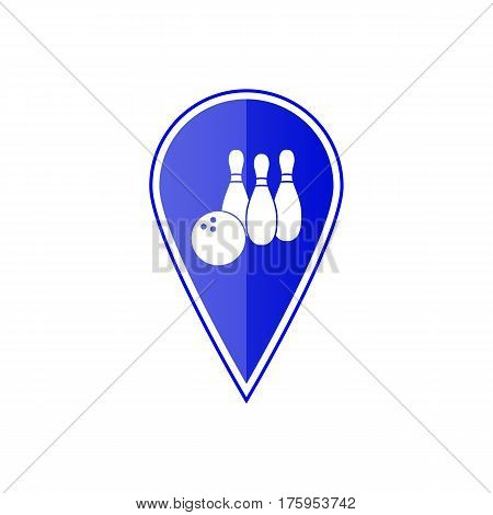 Blue map pointer with bowling skittles on the white background. Vector design
