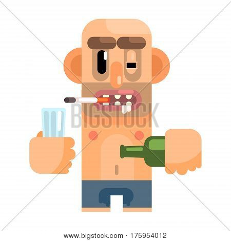 Unshaved Alcoholic With Rotten Teeth, Revolting Homeless Person, Dreg Of Society, Pixelated Simplified Male Vagabond Character. Scary And Disgusting Outcast Addict Isolated Vector Flat Icon.