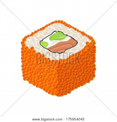 Sushi roll Philadelphia with fish caviar cream cheese avocado. Isolated on white background. Vector flat color illustration. For icon and menu