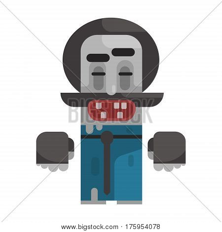 Dirty Tramp WIth Moustache And A HAt, Revolting Homeless Person, Dreg Of Society, Pixelated Simplified Male Vagabond Character. Scary And Disgusting Outcast Addict Isolated Vector Flat Icon.