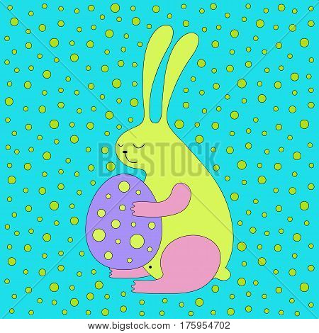 Cartoon Easter bunny illustration with sweet bunny holding an egg. Cute vector colorful Easter bunny illustration. Cheerful Easter bunny illustration for prints, posters, t-shirts, covers and cards.