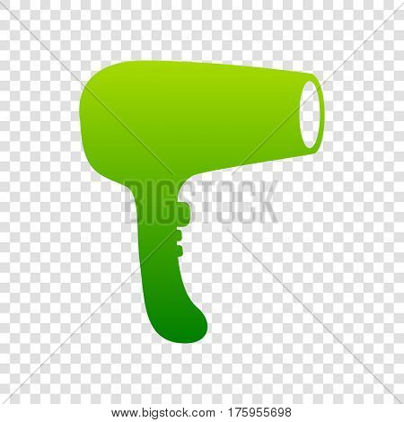Hair Dryer Sign. Vector. Green Gradient Icon On Transparent Background.