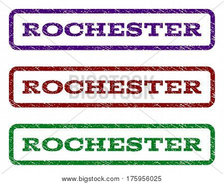Rochester watermark stamp. Text caption inside rounded rectangle frame with grunge design style. Vector variants are indigo blue, red, green ink colors. Rubber seal stamp with scratched texture.
