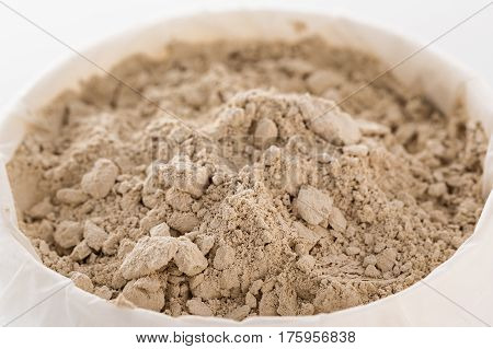 Cosmetic clay, sample and texture of cosmetic clay, isolated on white background