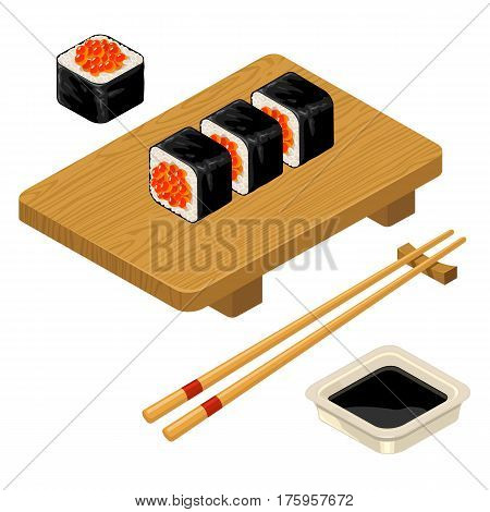 Sushi roll with caviar chopsticks soy sauce in bowl and wood board. Isolated on white background. Vector flat color illustration. For icon and menu