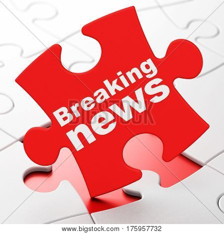 News concept: Breaking News on Red puzzle pieces background, 3D rendering