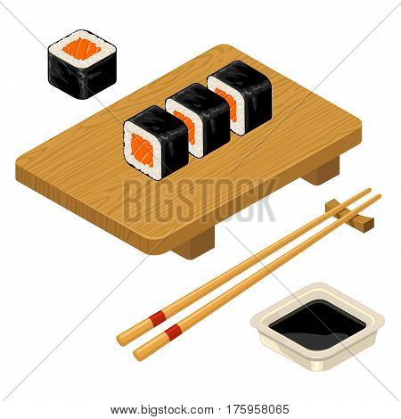 Sushi roll with fish chopsticks soy sauce in bowl and wood board. Isolated on white background. Vector flat color illustration. For icon and menu