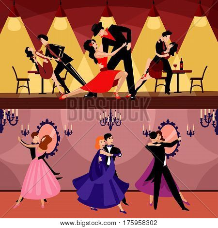 Professional dancers horizontal banners with couples dancing in latin and classic styles vector illustration