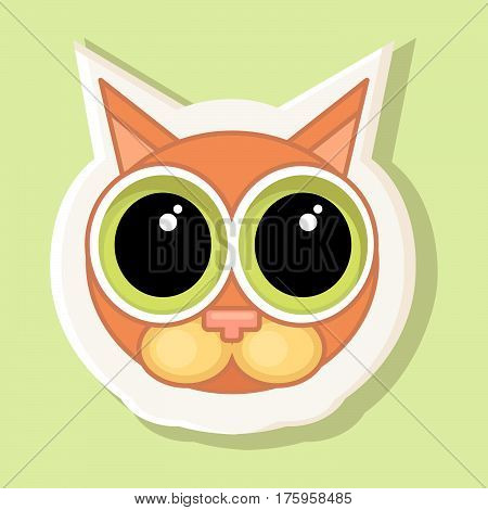 A voluminous sticker with a depicted cat with big eyes in cartoon style isolated on a simple background an image of a cat with a contour. Feeling of guilt apology.