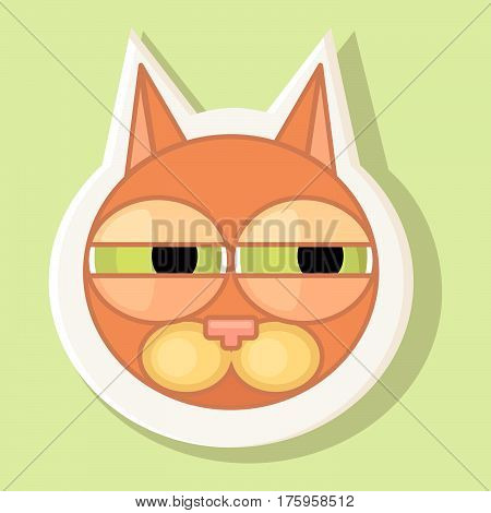 Volumetric sticker with the depicted cat in cartoon style isolated on a simple background the image of a cat with a contour. Emotion of suspicion.