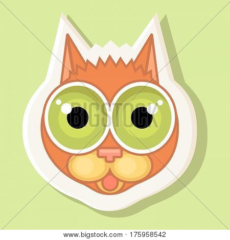 Volumetric sticker with the depicted cat in cartoon style isolated on a simple background the image of a cat with a contour. Emotion of fright surprise
