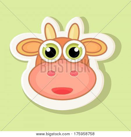Large volumetric sticker with a depicted cow in cartoon style. Isolated on a plain background an image of a cow with a contour.
