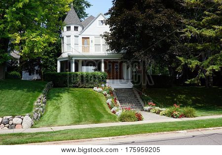 HARBOR SPRINGS, MICHIGAN / UNITED STATES - AUGUST 4, 2016: A beautiful home, dubbed