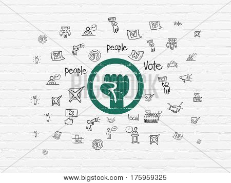 Politics concept: Painted green Uprising icon on White Brick wall background with  Hand Drawn Politics Icons