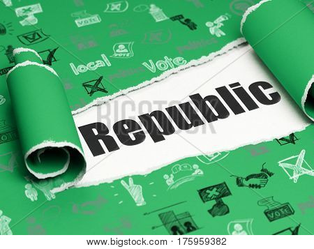 Political concept: black text Republic under the curled piece of Green torn paper with  Hand Drawn Politics Icons, 3D rendering