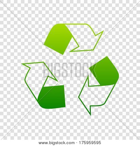 Recycle Logo Concept. Vector. Green Gradient Icon On Transparent Background.