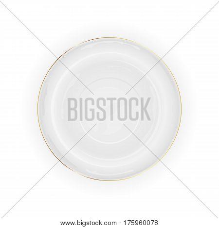 White plate isolated on white background, illustration.