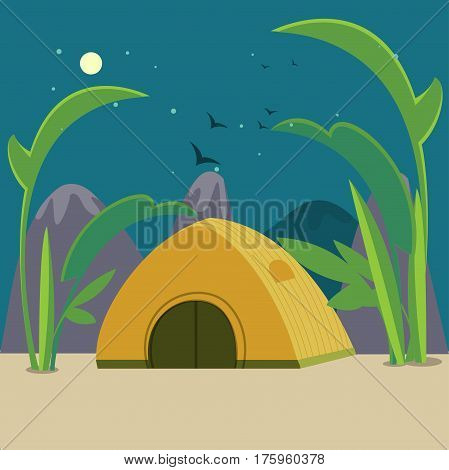 Colorful camping background with tourist tent near plants and mountains at night time in flat style vector illustration