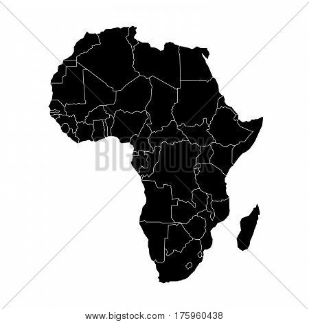 Simple flat black map of Africa continent with national borders isolated on white background. Vector illustration.