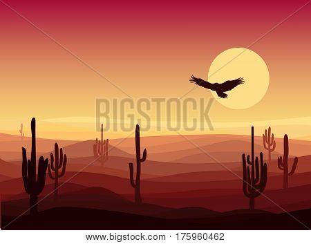 Hot sand desert landscape background with cactus plants and flying eagle at sunset vector illustration