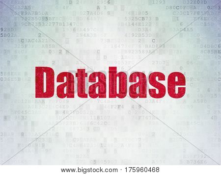 Software concept: Painted red word Database on Digital Data Paper background