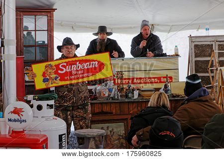 GORDONVILLE PENNSYLVANIA - March 11 2017: Volunteers help at the annual spring auction `Amish Mud Sale` to benefit the Fire Company.