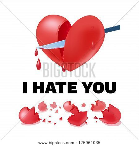 Unhappy love light template with inscription red broken heart cutting out with knife and  fragments vector illustration