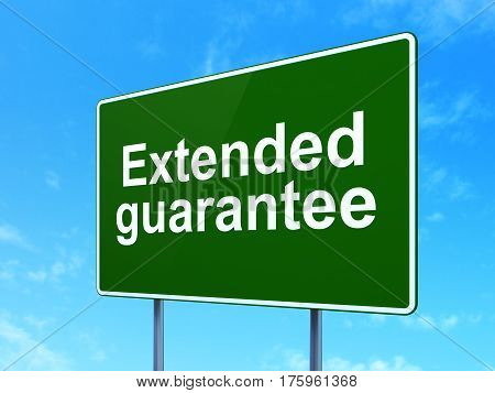 Insurance concept: Extended Guarantee on green road highway sign, clear blue sky background, 3D rendering