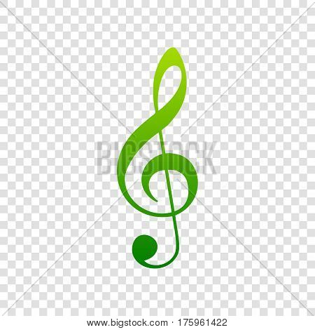 Music Violin Clef Sign. G-clef. Treble Clef. Vector. Green Gradient Icon On Transparent Background.
