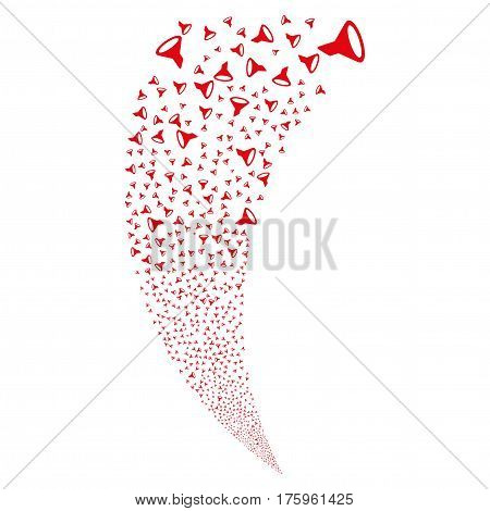 Filter random fireworks stream. Vector illustration style is flat red iconic symbols on a white background. Object fountain created from scattered pictograms.