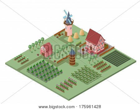Isometric agricultural landscape template with farming buildings green trees flowers and vegetables fields and garden beds vector illustration