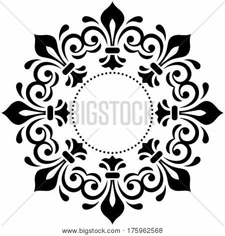 Oriental vector black and white pattern with arabesques and floral elements. Traditional classic ornament. Vintage pattern with arabesques