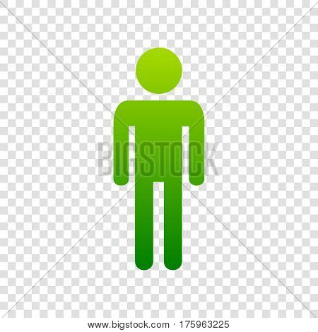 Man Sign Illustration. Vector. Green Gradient Icon On Transparent Background.