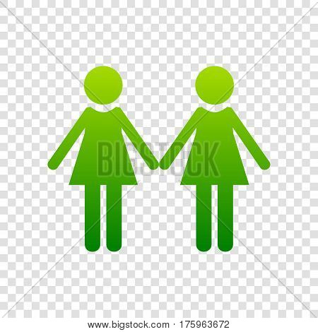 Lesbian Family Sign. Vector. Green Gradient Icon On Transparent Background.
