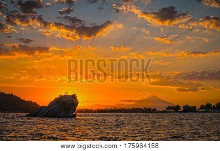Beautiful sunrise at Sithonia Greece with beautiful clouds