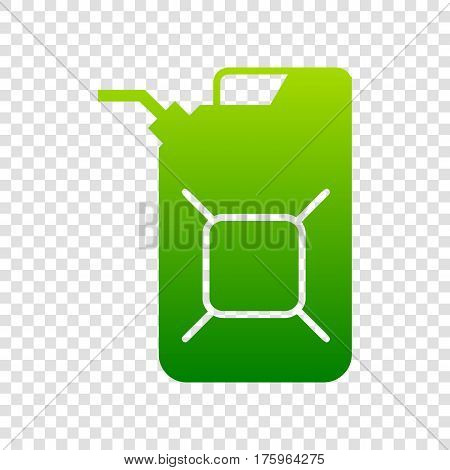 Jerrycan Oil Sign. Jerry Can Oil Sign. Vector. Green Gradient Icon On Transparent Background.