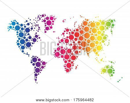 World map wallpaper mosaic of dots in rainbow spectrum colors on white background. Vector illustration.