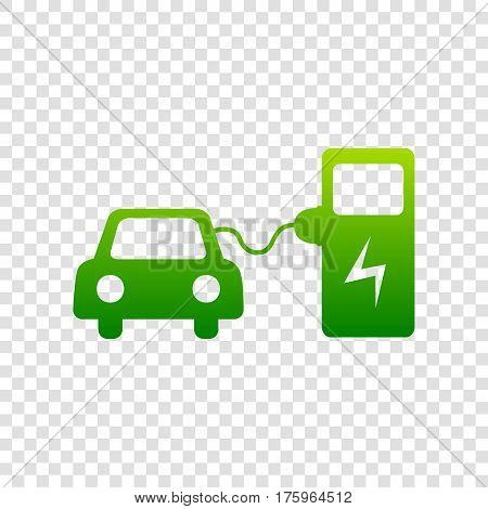 Electric Car Battery Charging Sign. Vector. Green Gradient Icon On Transparent Background.