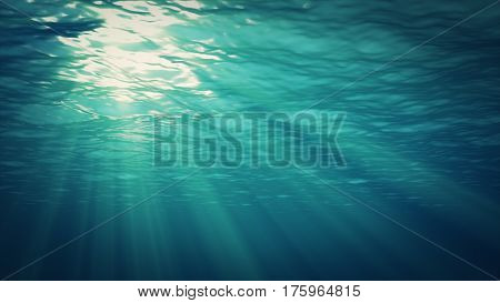 Underwater Background. Blue Underwater With Ripple And Wave Lights