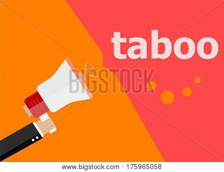 Taboo. Hand Holding A Megaphone. Flat Style